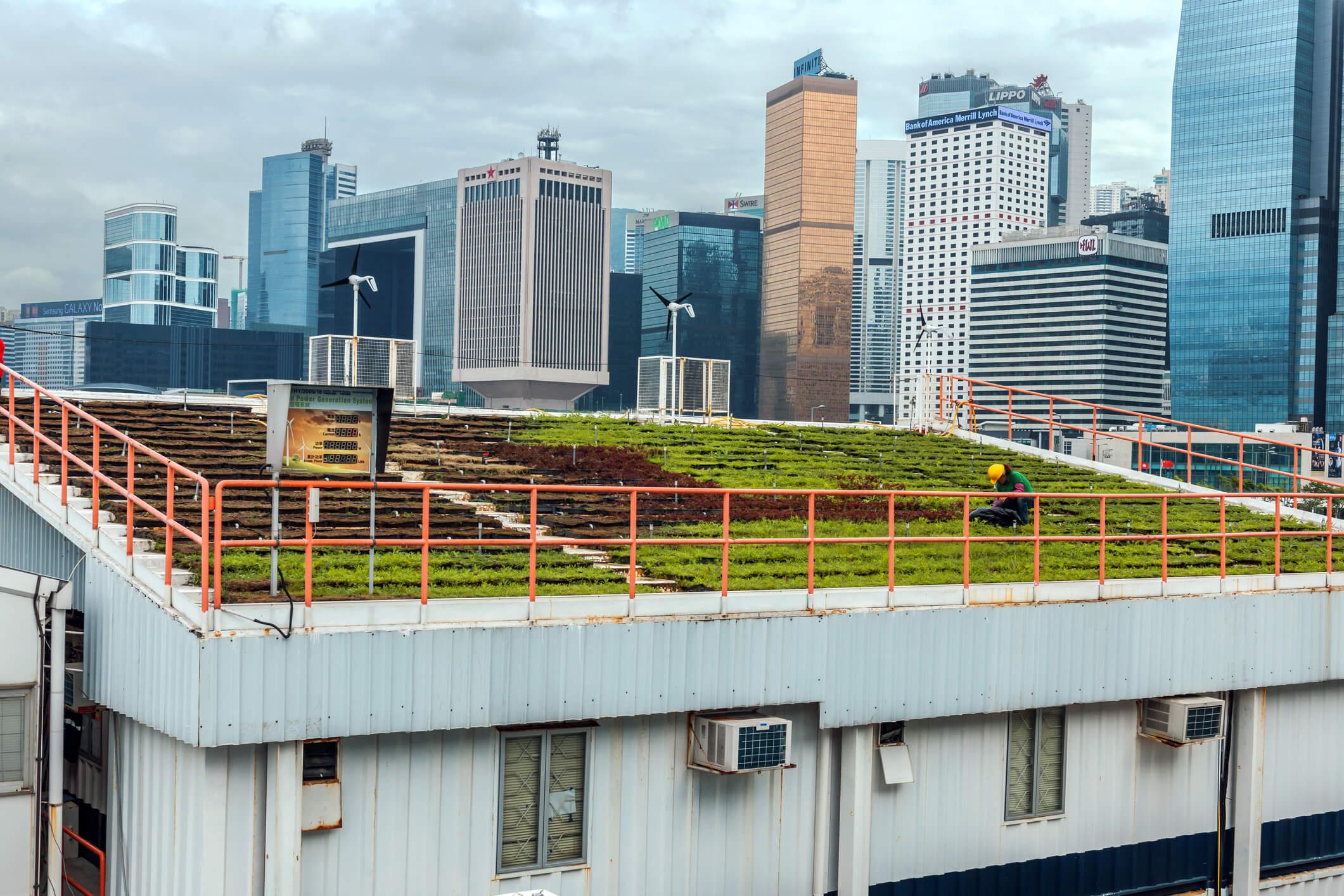 vista de cima do telhado de uma construção