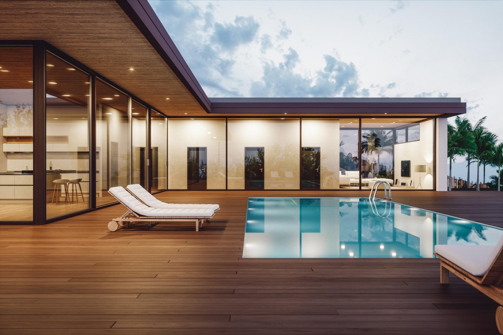 imagem 3d de uma casa com piscina