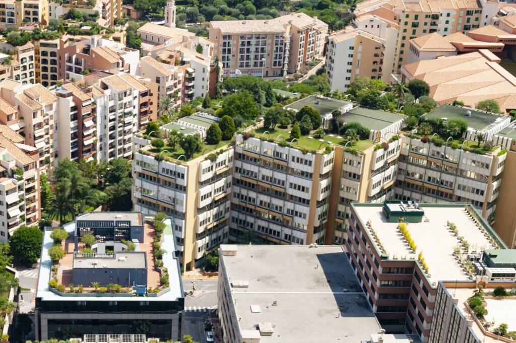 Telhado verde, imagem de prédios visto de cima